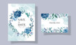 Blue wedding invitation template set with beautiful floral frame and border decoration
