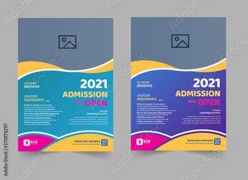 Fototapeta Creative style admission flyer template for school, college, university, coaching center vector design obraz
