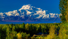 Denal In The Alaska Range And The Alaska Railroad Train.  Denali Is The Highest Mountain Peak In North America, With A Summit Elevation Of 20,310 Feet