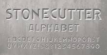 A Beveled Or Chiseled Font With The Appearance Of An Inscription Or Epitaph On A Gravestone, Tomb, Or Mausoleum. Stonecutter Alphabet Perfect For Spelling Dates Or A Message On A Headstone.