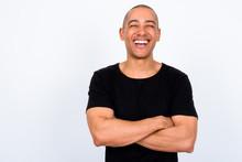 Portrait Of Happy Handsome Multi Ethnic Bald Man