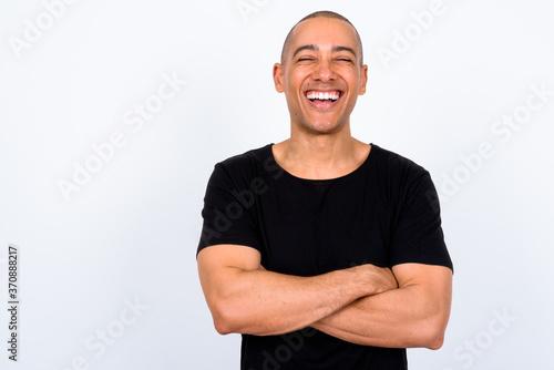 Fotografia Portrait of happy handsome multi ethnic bald man