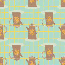 Brown Teapots Silhouettes Seamless Pattern. Hand Drawn Dish Elements On Tuquoise Background With Check.