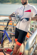 Athletic Cyclist With Sports W...