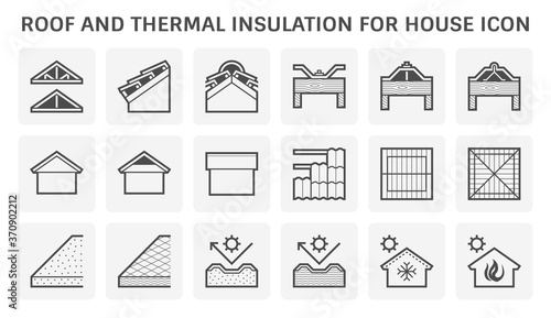 Roof tile and structure and thermal insulation for house vector icon design Canvas