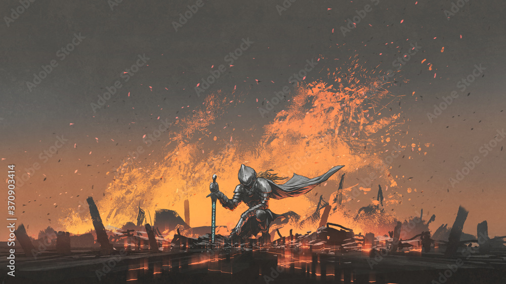 Fototapeta knight with the magic sword sitting on the fire, digital art style, illustration painting