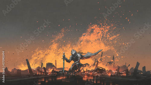 Fényképezés knight with the magic sword sitting on the fire, digital art style, illustration