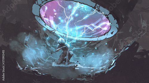 Obraz na płótnie a mysterious man sitting under the futuristic portal, digital art style, illustr