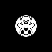 Teddy Bear Icon Isolated On Dark Background