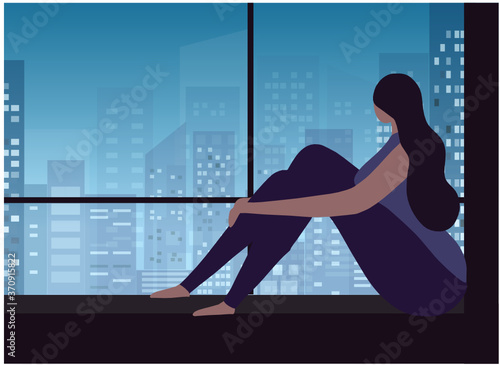 Sad and depressed woman hug her knee sitting on window.Unhappy and stressed, psychology, depression, mental disorder, stress, insomnia .and loneliness vector illustration.