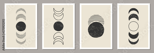 Canvas Print Trendy set of Moon Phases abstract contemporary aesthetic posters