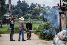 Officers Enter The Area To Spray Fog To Prevent Dengue Fever.