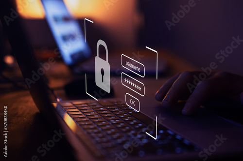 Fotografie, Tablou user typing login and password, cyber security concept, data protection and secu