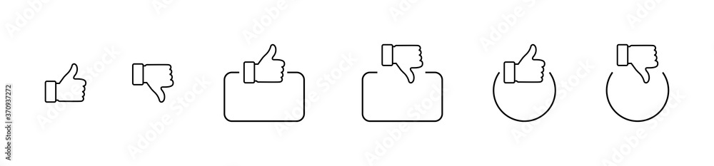 Fototapeta Like. Thumb up and down in linear design. Thumb up and thumb down with square and circle. Like vector icons. Line icons, isolated. Vector illustration
