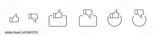 Obraz Like. Thumb up and down in linear design. Thumb up and thumb down with square and circle. Like vector icons. Line icons, isolated. Vector illustration - fototapety do salonu