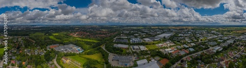 Panoramic aerial view of industrial park and surrounds of Kiel, Wellsee, Germany Canvas Print