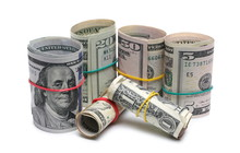 Bundles Of Various Rolled Up American Dollar Bills, Banknotes, Cash Money Rolls Isolated On White Background