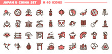 China And Japan Color Linear Vector Icons Set. Traditional Culture Of China