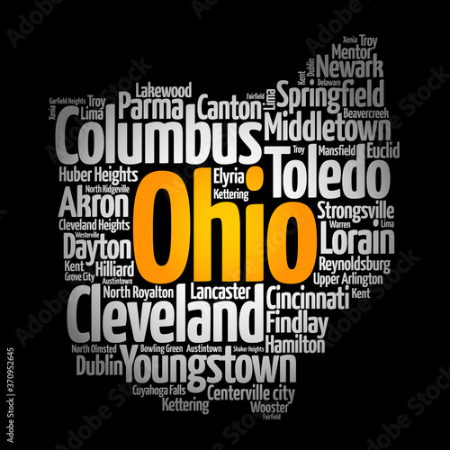 Photo List of cities in Ohio USA state, map silhouette word cloud, map concept backgro