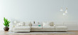 Leinwandbild Motiv 3d render of beautiful clean nterior with sofa