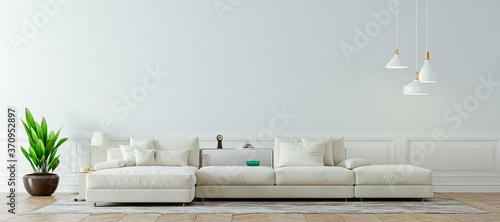 Slika na platnu 3d render of beautiful clean nterior with sofa