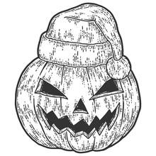 Halloween, Pumpkin Face In Santa Claus Hat. Sketch Scratch Board Imitation.