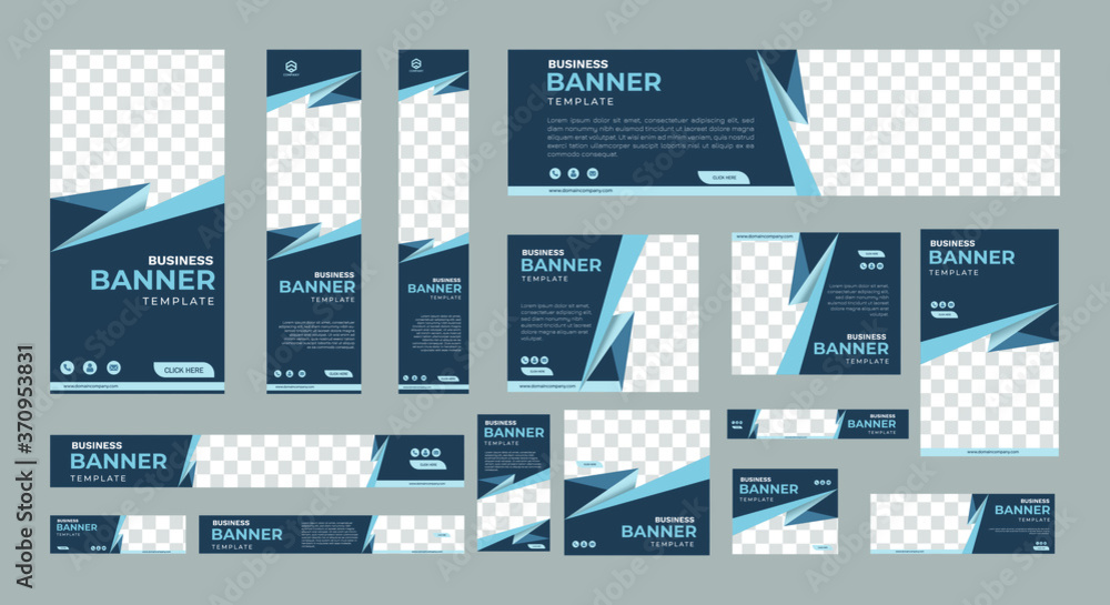 Fototapeta set of creative web banners of standard size with a place for photos. Business ad banner. Vertical, horizontal and square template. vector illustration EPS 10
