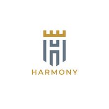 Heraldic Letter H Monogram. Elegant Minimal Logo Design. Letter H   Crown   Shield.