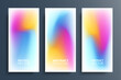 Blurred backgrounds set with modern abstract blurred color gradient patterns on white. Smooth templates collection for posters, banners, flyers and cards. Vector illustration.