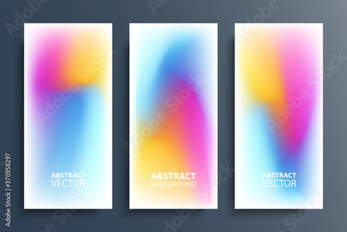 Fototapeta Blurred backgrounds set with modern abstract blurred color gradient patterns on white. Smooth templates collection for posters, banners, flyers and cards. Vector illustration. obraz