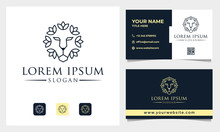 Nature Lion Head Lotus Logo Design With Business Card Template