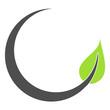 Leinwanddruck Bild - Grünes Blatt Icon mit geschwungener dunkelgrauer Linie