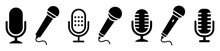 Microphone Icon Set. Different Microphone Collection. Vector