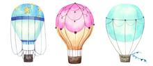 Colorful Balloons Isolated On White Background Watercolor Illustration On White Background