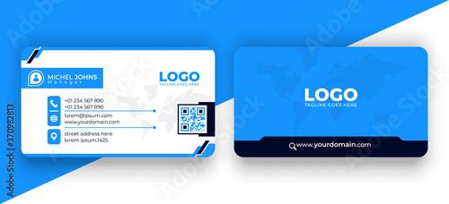 Double-sided modern blue and black business card Vector illustration Fototapeta