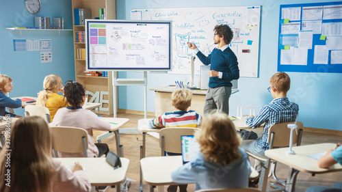 Elementary School Science Teacher Uses Interactive Digital Whiteboard to Show Classroom Full of Children how Software Programming works for Robotics Slika na platnu