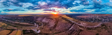Aerial Drone View Of Orheiul Vechi Village Panorama In Moldova At Sunset