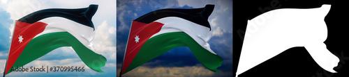 Valokuvatapetti Waving flags of the world - flag of Jordan