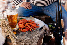 Crayfish And Beer And Man In S...