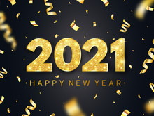 Happy New Year 2021 Long Banner. Holiday Background With Luxury Glitter Numbers, Confetti, Sparkles And Stars. Gold Festive Tinsel. Party Design Elements. Christmas Decoration. Vector Illustration