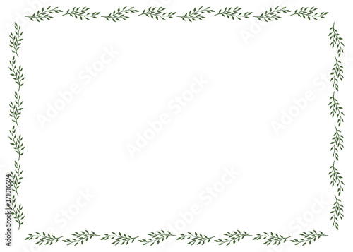 Frame with stylish discreet green branches on white background Slika na platnu