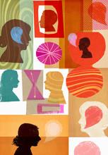 Lots Of Women's Heads With Speech Bubbles