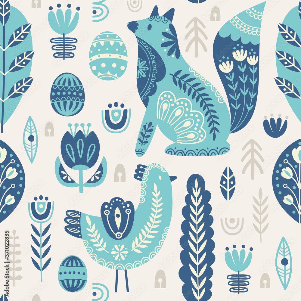 Seamless pattern in scandinavian style with bird and fox, tree, flowers, leaves, branches. Folk art. Vector nordic background with floral ornaments and animal illustrations. Home decorations.