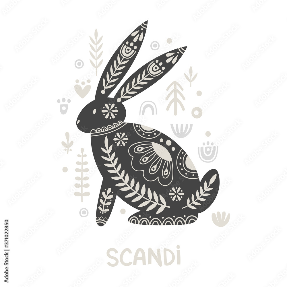 Illustration in scandinavian style with hare and floral elements: flowers, leaves, branches. Folk art. Vector nordic background with ornaments. Home decorations. Black and white.