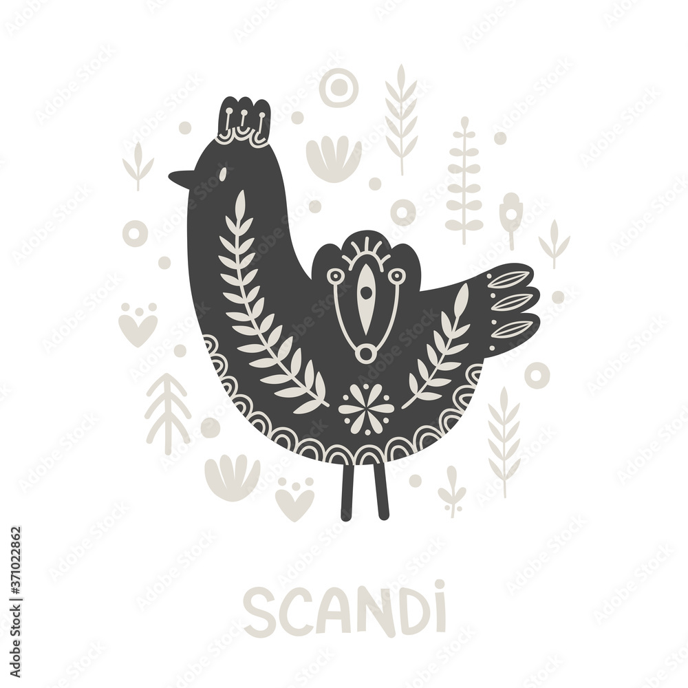 Illustration in scandinavian style with bird and floral elements: flowers, leaves, branches. Folk art. Vector nordic background with ornaments. Home decorations. Black and white.