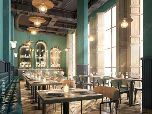 Fototapeta Restaurant and bar interior.Modern classic style.3d rendering obraz