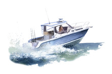 A Speedboat (motorboat) At Sea Hand Drawn In Watercolor Isolated On A White Background. Watercolor Illustration. Marine Illustration