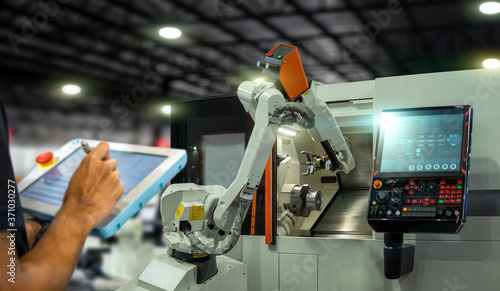 Cuadros en Lienzo heavy automation robot arm machine in smart factory industrial,Industry 4