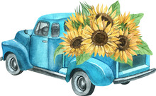 Watercolor Retro Truck With Sunflowers
