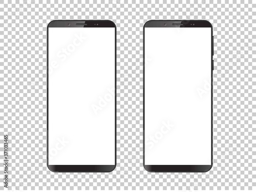 Fototapeta High quality realistic trendy no frame smartphone with blank white screen. Mockup phone for visual ui app demonstration. Vector mobile set device concept. Detailed Mockup Smartphone obraz